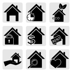Vector icons of the house