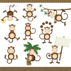 Monkey in varying positions