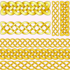Celtic braids set with seamless patterns for brushes.