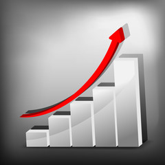 Business Growth - Silver graph - 3D illustration.