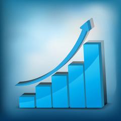 Business Growth - blue graph - 3D illustration.