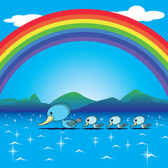 ducks and rainbow in the lake vector for a happy card