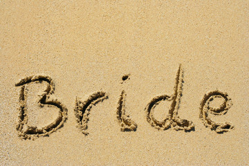 Bride handwritten in sand
