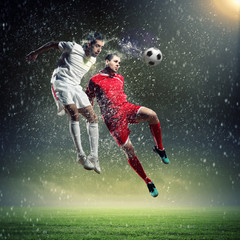 Door stickers Soccer ball two football players striking the ball