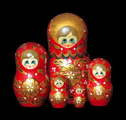 Five Red Painted Russian Nesting Dolls toys isolated
