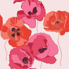 Canvas Prints Abstract Floral Decorative background with poppies flower. Seamless pattern.