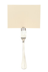 Blank card to reserve dining fork.