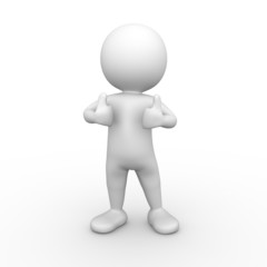 3D Minimalistic Person Giving The Thumbs Up