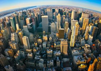 Fisheye aerial panoramic view over New York Wall mural