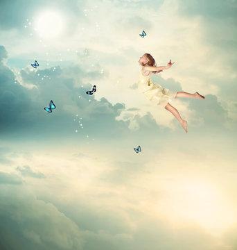 Little Girl Flying at Twilight