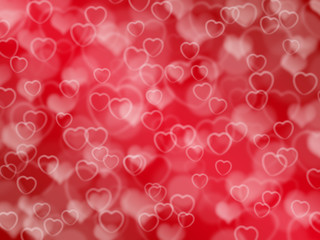 Red valentine background with boke and hearts