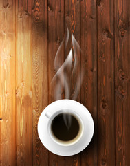 Coffee cup against wooden background.