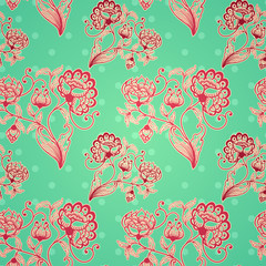 Retro seamless background with stylized flowers