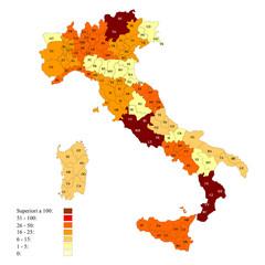 Province italiane con esempio di legenda numerica