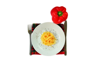 Bell pepper and spaghetti