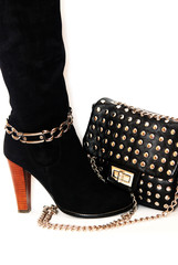 Boots and leather bag