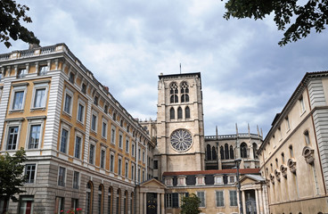 Tower of Saint John the Baptist Cathedral in Lyon, France