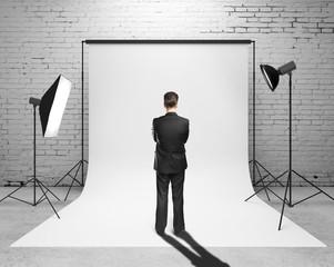businessman looking to studio