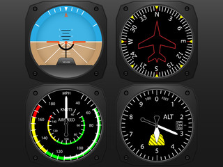 Airplane cockpit  instrument panel