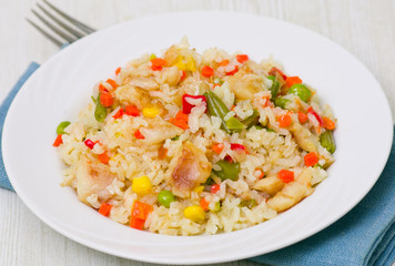 rice with vegetables and fish