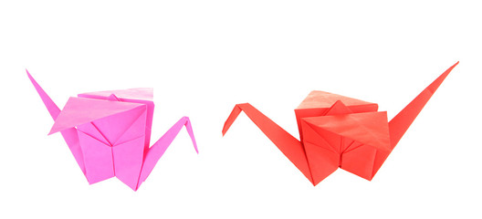 Origami cranes isolated on white