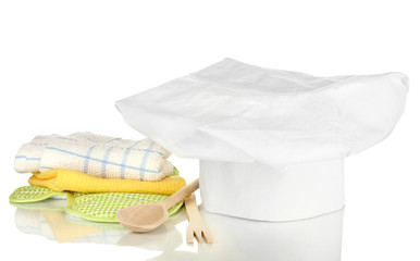 Chef's hat with kitchen towels, potholders and kitchenware
