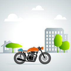 Fototapete - retro motorbike in the city 1