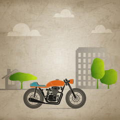 Fototapete - retro motorbike in the city (canvas version)