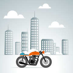 Wall Mural - retro motorbike in the city 2