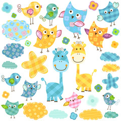 Deurstickers Vogels, bijen cute owls and giraffes