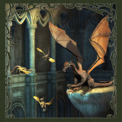 Spoed Fotobehang Draken Fantasy Scene With Dragons - Computer Artwork