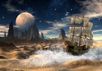 Sailing Ship In A Desert - Fantasy Scene
