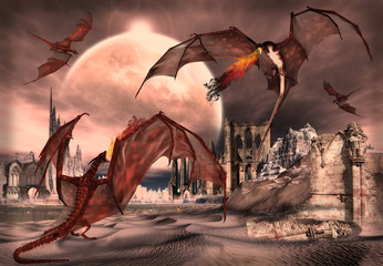 Spoed Fotobehang Draken Fantasy Scene With Fighting Dragons