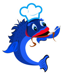 Aluminium Prints Pirates Fresh fish is a chef with a spoon on a white background.Vector