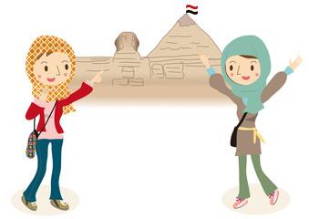 エジプト旅行を楽しむ女性達