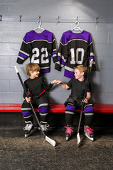 Youth Hockey Players in Fist Pump