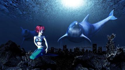 Fotobehang Zeemeermin Underwater dolphins and mermaid
