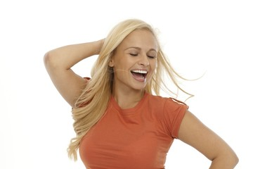Blonde woman smiling happy