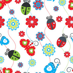 Autocollant pour porte Coccinelles Ladybirds and butterflies seamless pattern