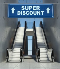 Moving escalator stairs in mall, super discount sign