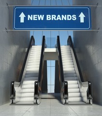 Moving escalator stairs in mall, new brands sign