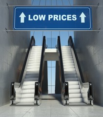 Moving escalator stairs in mall, low prices sign