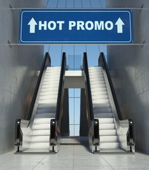 Moving escalator stairs in mall, hot promo sign