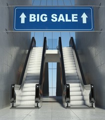 Moving escalator stairs in mall, big sale sign