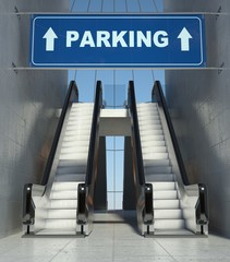 Moving escalator stairs in building, parking sign