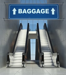 Moving escalator stairs in airport, baggage sign