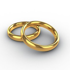 Wedding golden rings 3d. Isolated