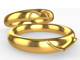 Golden wedding rings. Heart from two parts. Eternal love concept