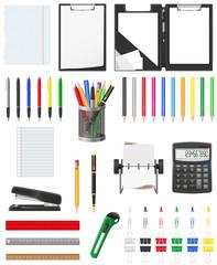 stationery set icons vector illustration
