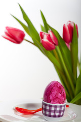 Osterei und Tulpen